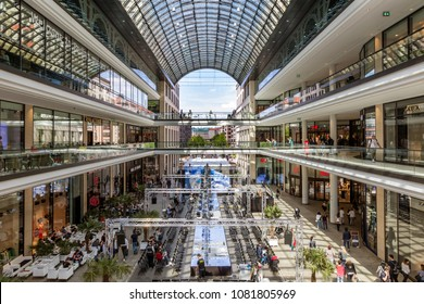 BERLIN, GERMANY - APRIL 28, 2018: Interior view of the new Mall of Berlin shopping centre at Leipziger Platz. The mall has various shopping facilities on four floors.