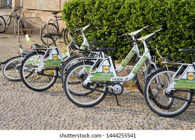 BERLIN, GERMANY – APRIL 28, 2019: Rental bikes of the group Lidl on the roadside in the city center of Berlin