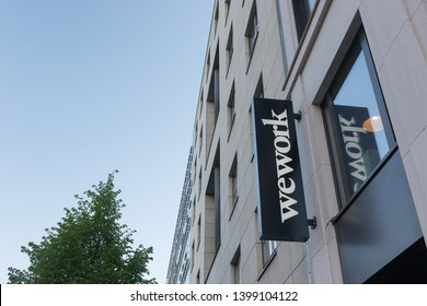 Berlin, Germany - April 29, 2019: A location of the co-working and office space company WeWork in Berlin Germany