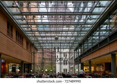 Berlin, Germany - April 3, 2017: Potsdamer Platz Arkaden Shopping Mall in Berlin