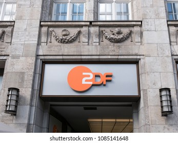 BERLIN, GERMANY - APRIL 3, 2018: ZDF Symbol At The Capital Studio In Berlin, Zweites Deutsches Fernsehen, German For Second German Television , Usually Shortened To ZDF