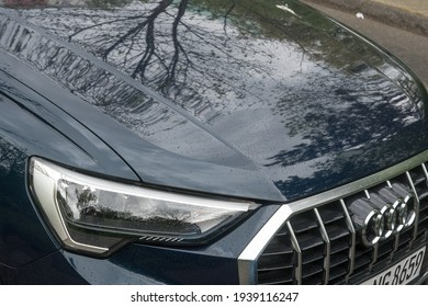 Berlin, Germany - April 30, 2020: Audi car side. Audi AG is a premium German automobile manufacturer that designs, engineers, produces, markets and distributes luxury automobiles
