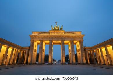 Berlin, Germany - April 4, 2017: Brandenburg Gate at sunrise in Berlin