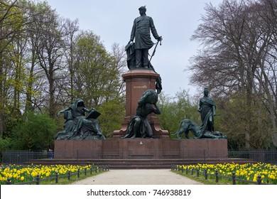 Berlin, Germany - April 4, 2017: Statue at Bismarck Nationaldenkmal Memorial in the Berlin Tiergarten