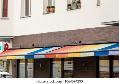 Berlin, Germany - April 5th, 2018: Multicolored canopy.