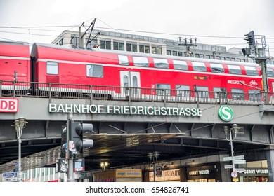 BERLIN, GERMANY - APRIL 6: Train at Friedrichstrasse street in centre of city on April 7, 2017 in Berlin