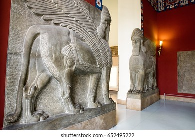 BERLIN, GERMANY - APRIL 7: Lamassu in Assyrian chamber at Pergamon museum on April 7, 2017 in Berlin