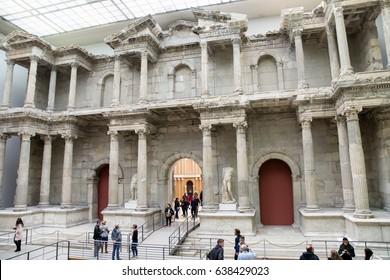 BERLIN, GERMANY - APRIL 7: Market gate of Miletus town in Pergamon museum on April 7, 2017 in Berlin