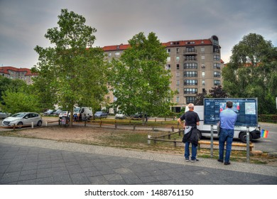 BERLIN, GERMANY, AUG 10, 2019: visitors at the Fuhrerbunker site in the center of Berlin. he Fuhrerbunker was an air raid shelter located near the Reich Chancellery in Berlin and used by Adolf Hitler