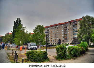 BERLIN, GERMANY, AUG 10, 2019: the Fuhrerbunker site (demolished) in the center of Berlin. he Fuhrerbunker was an air raid shelter located near the Reich Chancellery in Berlin and used by Adolf Hitler