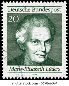 Berlin, Germany - Aug. 11, 1696: Marie Elisabeth Lüders (1878-1966), German politician and one of the most important figures in the German women's rights movement. Stamp issued by German Post in 1969.