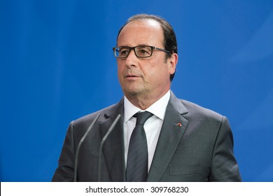 BERLIN, GERMANY - Aug 24, 2015: French President Francois Hollande during his meeting with German Chancellor Angela Merkel and the President of Ukraine Petro Poroshenko