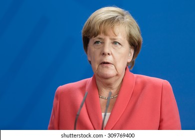 BERLIN, GERMANY - Aug 24, 2015: Chancellor of the Federal Republic of Germany Angela Merkel during a joint briefing with President of Ukraine Petro Poroshenko and French President Francois Hollande