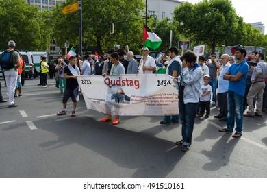 BERLIN, GERMANY - AUGUST 03, 2013: International Quds Day. Demonstrators on the Kurfuerstendamm.