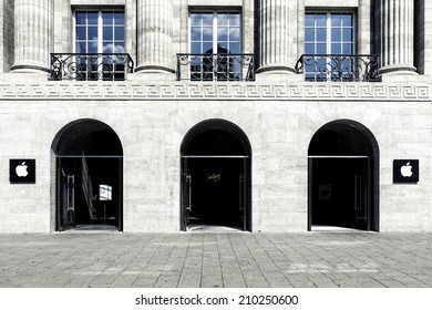 BERLIN, GERMANY- AUGUST 06,  2014: Facade of the first Apple store in Germany,  at the Kurfuerstendamm  in Berlin