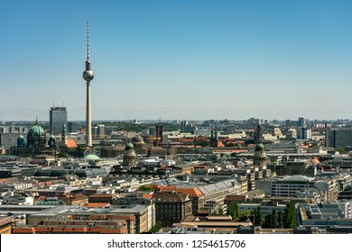 berlin, germany, august, 06, 2018, berlin zoo, center, potsdamer platz and surroundings from bird's-eye view