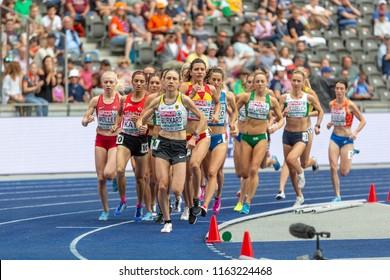 BERLIN, GERMANY- AUGUST 10, 2018: European Athletics Championships. 3000m Steeplechase Women Round 1