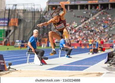BERLIN, GERMANY- AUGUST 10, 2018: European Athletics Championships. Heptathlon, Long Jump Women. THIAM Nafissatou, BEL