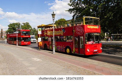 BERLIN, GERMANY - AUGUST 10, 2018: Sightseeing double decker hop on hop off bus tour of Berlin, Germany.