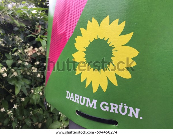 Berlin, Germany - August 11, 2017: Election campaign billboard of German political Green party. Die Grünen is the German environmentalist political party