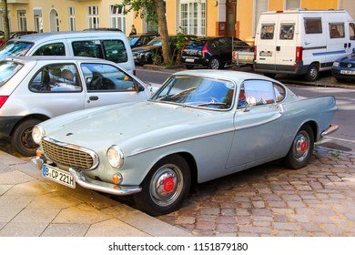 Berlin, Germany - August 12, 2014: Sports car Volvo 1800S in the city street.