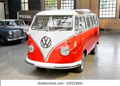 BERLIN, GERMANY - AUGUST 12, 2014: German classic van Volkswagen Transporter in the museum of vintage cars Classic Remise.