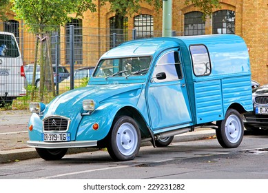 BERLIN, GERMANY - AUGUST 12, 2014: French retro car Citroen 2CV Van near the museum of vintage cars Classic Remise.