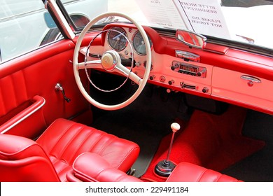 BERLIN, GERMANY - AUGUST 12, 2014: Interior of the german classic vehicle Mercedes-Benz 190SL in the museum of vintage cars Classic Remise.