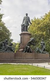 BERLIN, GERMANY - AUGUST 13, 2016: Statue of Otto Von Bismarck memorial tiergarten berlin. Bismarck-Nationaldenkma