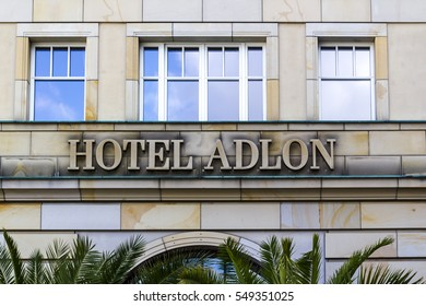 BERLIN, GERMANY - AUGUST 13, 2016: Enterance and the logo of the famous Hotel Adlon in Berlin, Germany. The Adlon is Berlins most luxurious hotel.
