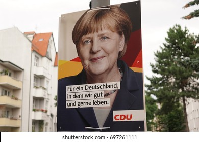 Berlin, Germany - August 13, 2017: Election campaign billboard of German political party CDU. The Christian Democratic Union of Germany is a liberal-conservative political party, centre-right