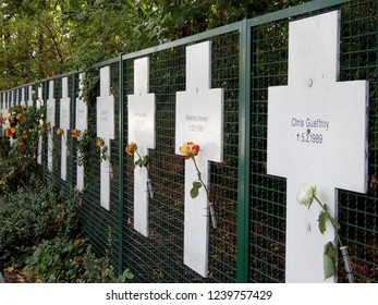 Berlin, Germany - August 15, 2018: Memorial to people killed in the Berlin Wall during communist rule in the German Democratic Republic