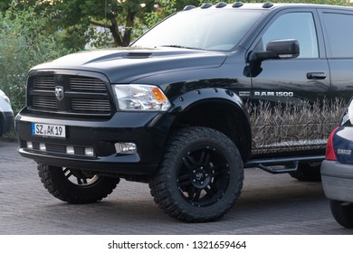 Berlin, Germany - August 15, 2018: RAM 1500 truck. The Ram pickup (formerly the Dodge Ram pickup) is a full-size pickup truck manufactured by FCA US LLC (formerly Chrysler Group LLC)