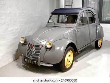BERLIN, GERMANY - AUGUST 16, 2014: French retro car Citroen 2CV in the German Museum of Technology (Deutsches Technikmuseum Berlin).