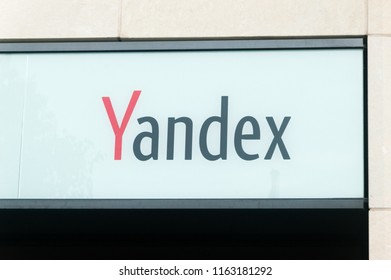 Berlin, Germany - August 16, 2018: Logo and sign of Yandex company in Berlin.
