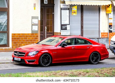 BERLIN, GERMANY - AUGUST 17, 2014: Motor car Mercedes-Benz W218 CLS-class in the city street.