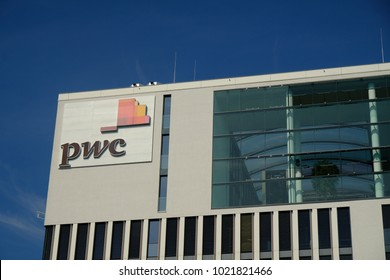 Berlin, Germany - August 17, 2017: PwC  logo. PricewaterhouseCoopers is a multinational professional services network, the second largest professional services firm in the world
