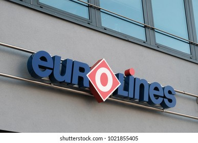 Berlin, Germany - August 17, 2017: Eurolines signage. The Belgian company operates a transnational network, connecting 600 destinations