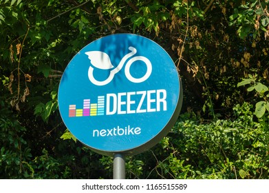 Berlin, Germany - August 17, 2018: Deezer bike station sign of nextbike.