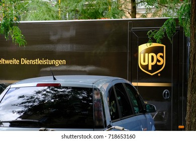 Berlin, Germany - August 18, 2017: Ups logo. United Parcel Service (UPS) is the world's largest package delivery company and a provider of supply chain management solutions