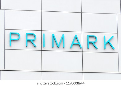 Berlin, Germany - August 18, 2018: Primark logo and sign. Primark is a low cost Irish clothing and accessories retailer.