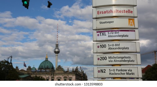 Berlin, Germany - August 19, 2017: bus stop  and the tv tower in background