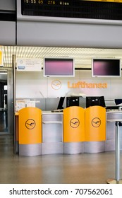 Berlin, Germany - August 19, 2017: Lufthansa symbol. Deutsche Lufthansa AG is the largest German airline. It is one of the five founding members of Star Alliance, the world's largest airline alliance