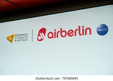 Berlin, Germany - August 19, 2017: Air Berlin airline symbol. Air Berlin PLC & Co. Luftverkehrs KG, branded as airberlin or airberlin.com, is Germany's second-largest airline, after Lufthansa