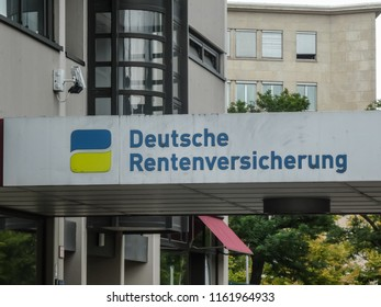 Berlin, Germany - August 20, 2018: Signage of the Deutsche Rentenversicherung, the German pension insurance corporation