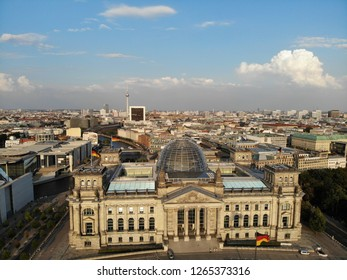 Berlin, Germany, August 2018: Aerial view of German parliament Bundestag on a sunny evening by drone