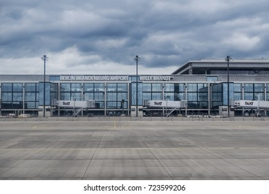 """Berlin, Germany - August 22, 2017. View of a terminal under construction at the Berlin Brandenburg Airport """"Willy Brandt"""". Berlin Brandenburg Airport is an international airport under construction."""