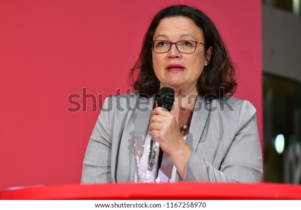 """Berlin, Germany, August 23rd 2018: Andrea Nahles from the SPD at an event called """"Solidarity in digital capitalism."""