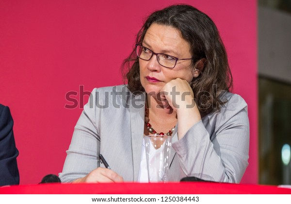 Berlin, Germany - August 23rd 2018: Andrea Nahles speaking at an SPD event promoting their programme through socialist forums.