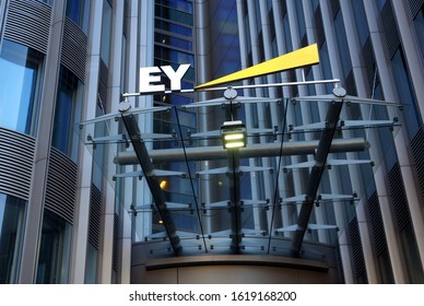 BERLIN, GERMANY - AUGUST 24, 2019:  Ernst & Young is one of the Big Four accounting firms.